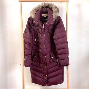 Michael Kors Fur Hooded Chevron Down Puffer Coat L
